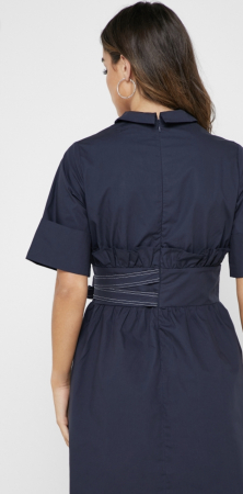 Rochie Tie Side Shirt Dress with Collar [2]